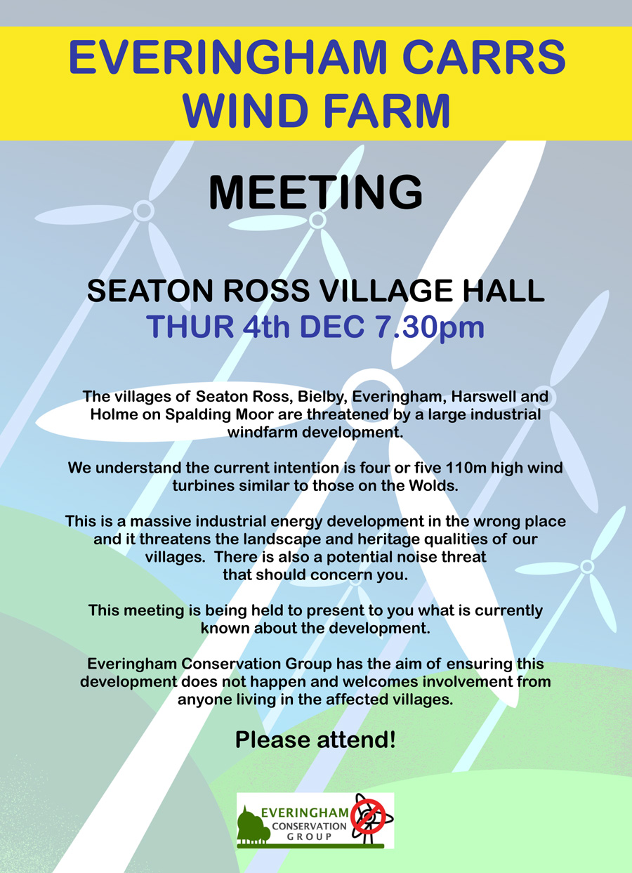 Everingham Carrs Wind Farm meeting flyer