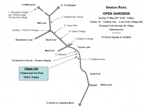 Seaton Ross Open Gardens 2017 map