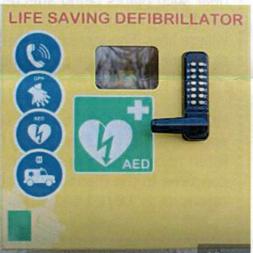 Village defibrillator at the Village Hall